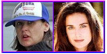 Demi Moore with and without makeup