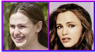 Jennifer Garner with and without makeup